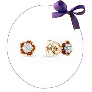 Пусеты Розочка из розового золота с бриллиантом