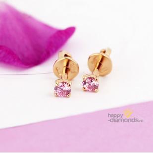 Золотые пусеты с розовым камнем