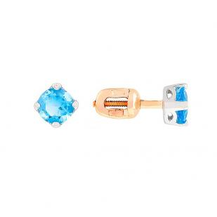 Золотые гвоздики с топазами голубыми фото