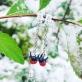Удлиненные серьги пусеты со снегирями