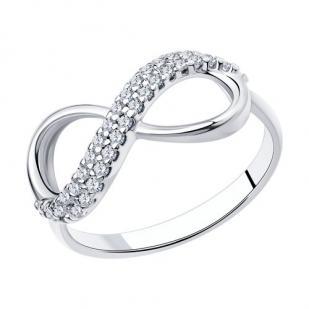Кольцо бесконечность серебряное фото