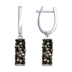 Серьги трубочки с камнями Сваровски графит фото