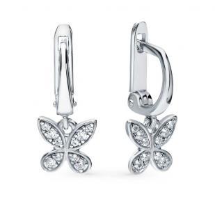 Серебряные сережки Летящие бабочки