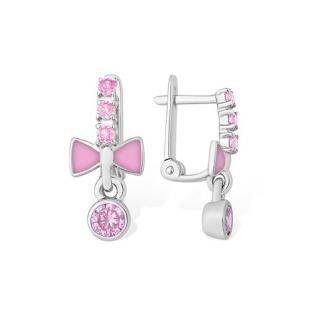 Детские серебряные серьги Розовый бантик