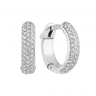 Серебряные серьги круглые дорожки с фианитами фото