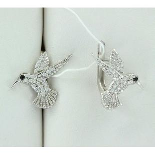 Серебряные серьги Колибри фото