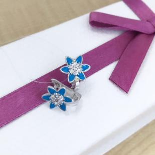 """Серебряные серьги """"Синий цветочек"""" фото"""