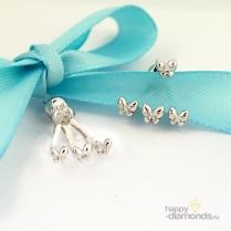Пусеты серебряные с бабочками