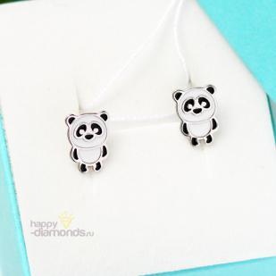 Детские серьги Панда из серебра фото
