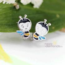 Детские серьги Пчелки из серебра
