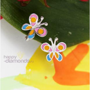 Детские серьги Летняя бабочка из серебра фото