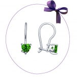 Серебряные серьги с зеленым фианитом