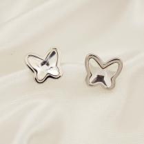 Серебряные серьги Сиюящие бабочки swarovski