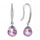 Серьги из серебра с муранским стеклом розового цвета