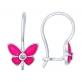Небольшие детские серьги из серебра и розовой эмали