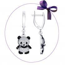 Серьги с пандами серебряные