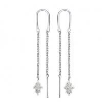 Серебряные серьги протяжки с цветками