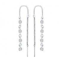 Серебряные серьги - цепочки с фианитами