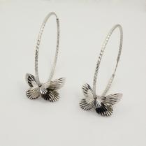 Серебряные серьги - кольца (конго) с бабочками
