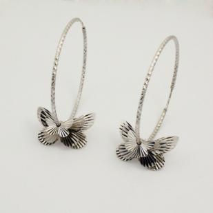 Серебряные серьги - кольца (конго) с бабочками фото