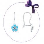 Серебряные серьги Цветочки голубая эмаль
