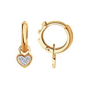 Золотые серьги с подвеской Сердце бриллианты 1021506 фото