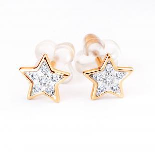 Золотые гвоздики звезда с бриллиантами