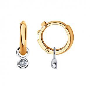 Золотые серьги с подвеской бриллианта 1021542 фото