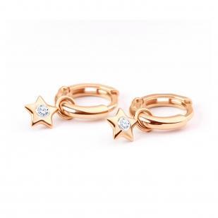 Золотые серьги с подвеской Звездочка с бриллиантами 1021535 фото