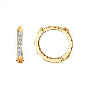Круглые серьги с бриллиантами из золота с бриллиантами 1021543  фото