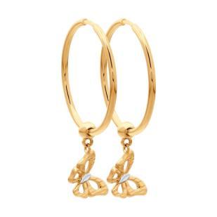 Золотые серьги кольца с бабочками 028006