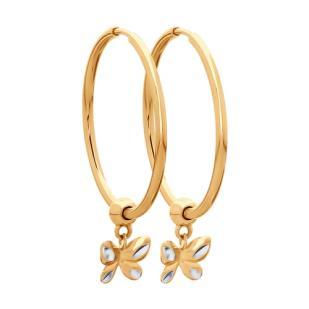 Золотые серьги кольца с бабочками 028022