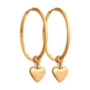 Золотые серьги кольца с сердечками 028023 фото