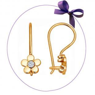 Детские сережки Цветочки с бриллиантами 1021033