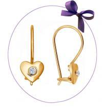 Детские сережки Сердечки с бриллиантами 1021034