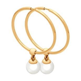 Золотые серьги конго с жемчугом 792067