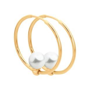 Золотые серьги кольца с жемчугом 792079