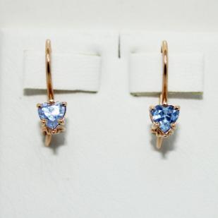 Золотые сережки для девочек Сердца фото