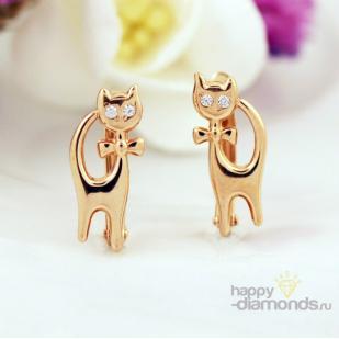 """Золотые серьги """"Кошки"""" с белыми фианитами фото"""