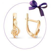 Золотые серьги Скрипичный ключ