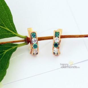 Золотые серьги дорожки с бело - зелеными фианитами