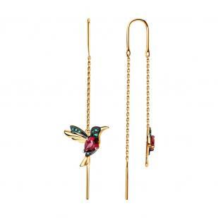 Золотые серьги протяжки Колибри родолит 725374 фото