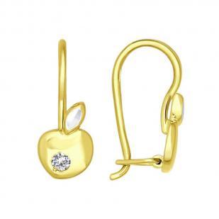 Детские серьги из желтого золота Яблочки 025256-2