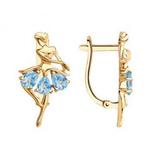 Золотые серьги Балерина с топазами
