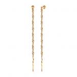 Серьги цепочки с золотыми шариками