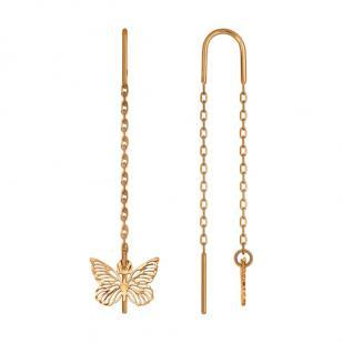 Золотые серьги протяжки с бабочкой ажурной фото