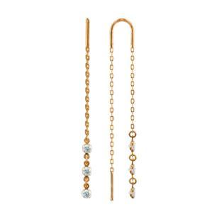 Золотые серьги цепочки с фианитами