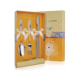 Набор детских столовых приборов Морозко с ножом фото
