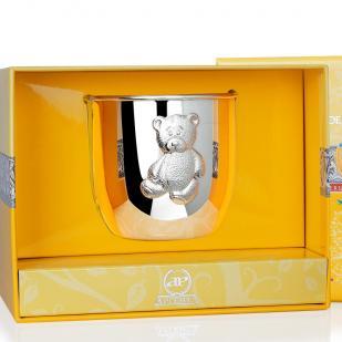 Детский стакан Мишутка серебряный фото