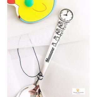 Ложка детская Часы Утята с гравировкой